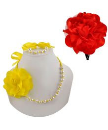 Miss Diva Necklace & Flower Tic Tac Set - Yellow & Red