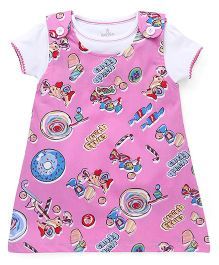 Child World Frock with Inner Top Candy Queen Print - Pink