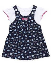 Child World Frock with Inner Top Umbrella Print - Navy Blue