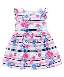 Child World Ruffle Sleeves Frock Floral Print - Pink