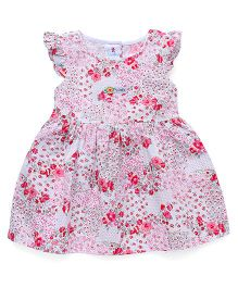 Child World Flutter Sleeves Frock Floral Print - Pink