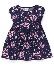 Child World Short Sleeves Frock Floral Print - Navy