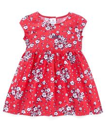Child World Short Sleeves Frock Floral Print - Red