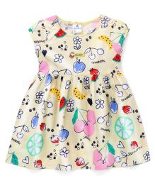 Child World Cap Sleeves Frock Floral & Fruit Print - Yellow