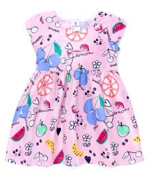 Child World Cap Sleeves Frock Floral & Fruit Print - Pink
