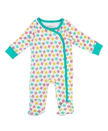 Beebay Full Sleeves Sleepsuit Butterfly Print - White Green