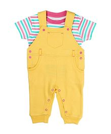 Beebay Dungaree Style Romper With Stripe Top - Yellow White
