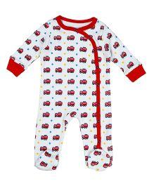 Beebay Full Sleeves Sleepsuit Fire Engine Print - White Red