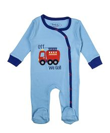 Beebay Full Sleeves Sleepsuit Fire Engine Print - Sky Blue