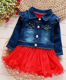 Petite Kids Dress & Jacket Set - Red & Blue