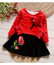Petite Kids Floral Applique Top & Skirt Set - Red