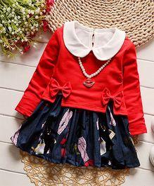 Petite Kids Peter Pan Collar Jacket & Dress Set - Red & Blue