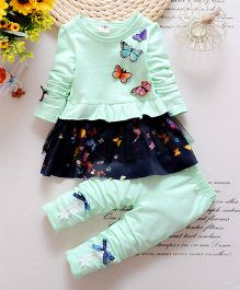 Petite Kids Butterfly Applique Frilled Dress With Leggings - Blue