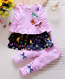 Petite Kids Butterfly Applique Frilled Dress With Leggings - Pink