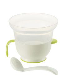 Richell Porridge Cooker E for Microwave - White Green