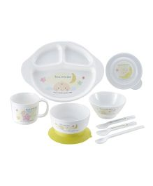Richell Feeding Set Pack Of 9 - Green White