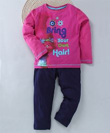 Kuddle Bring Your Own Hair Print Night Suit - Pink & Navy Blue
