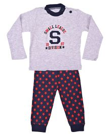 Kuddle Kids Star Print Top & Pajama Set - Grey & Red