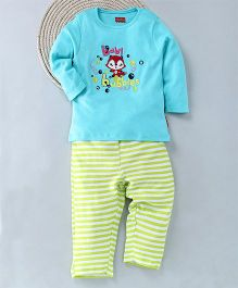 Kuddle Kids Baby Bubbles Design Top & Pajama Set - Blue White & Green