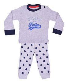 Kuddle Kids Star Print Top & Pajama Set - Grey & Navy Blue