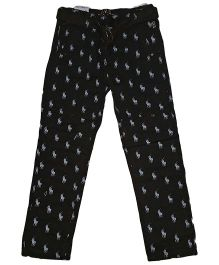 Kuddle Kids Horse Printed Straight Pants - Black & White