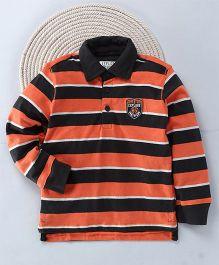 Kuddle Kids Stripe Print Full Sleeves T-Shirt - Orange & Black