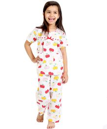 Dress My Angel Fruit Printed Top & Pyjama - Multicolor