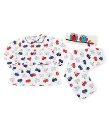 Dress My Angel Apple Printed Top & Pyjama - Multicolor