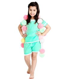 Dress My Angel Polka Dot Print Top & Shorts - Green