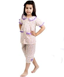 Dress My Angel Floral Printed Top With Front Pockets & Capri Set - Orange & Purple