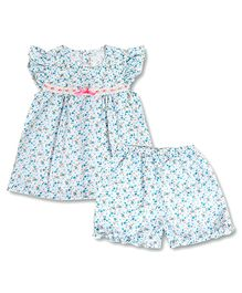 Dress My Angel Floral Printed Top With Satin Ribbon & Shorts Set - Blue