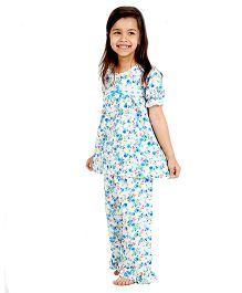 Dress My Angel Floral Printed Top & Pyjama With Frilly Hem - Blue