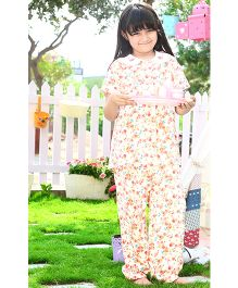 Dress My Angel Floral Printed Top & Pyjama With Hand Embroidered Collars - Multicolour