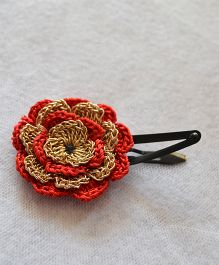 Pretty Ponytails Hand Crocheted Flower Clip - Red Golden