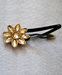 Pretty Ponytails Zardozi Flower Crystal Clip - Golden
