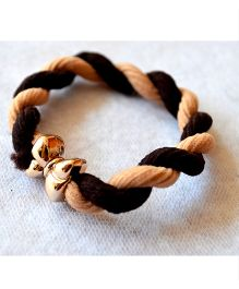 Pretty Ponytails Twisted Rope Bow Tied Hairtie Rubber Band - Light Dark Brown