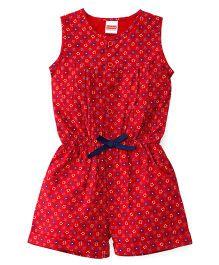 Babyhug Sleeveless Floral Print Jumpsuit - Red
