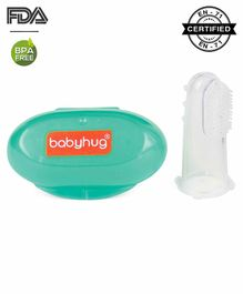 Babyhug Silicone Finger Brush With Case - Blue