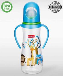 Babyhug Bubble Feeding Bottle With Handles Blue White - 250 ml