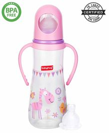 Babyhug Bubble Feeding Bottle With Handles Pink - 250 ml
