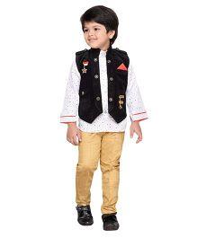 AJ Dezines Indo Western Corduroy Waistcoat Set - Black Beige White