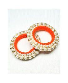 Asthetika Moti Diamond Stone Bangle - Orange