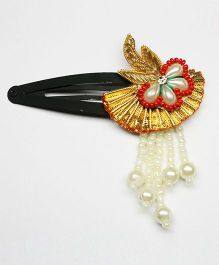 Asthetika Pearl Gota Hair Clip With Tassels - Golden