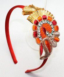 Asthetika Zardosi Gota Hair Band - Red