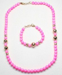 Asthetika Pearl Beads Necklace & Bracelet Combo - Pink