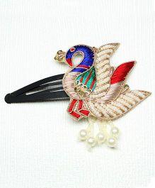 Asthetika Peacock Ethnic Hair Clip - Blue