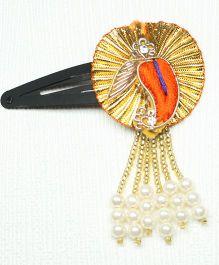 Asthetika Ethnic Hair Clip With Tassels - Orange