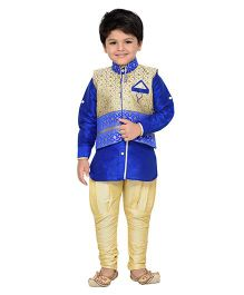 AJ Dezines Full Sleeves Kurta Breeches And Waistcoat With Embroidery Detail - Royal Blue & Cream