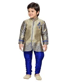AJ Deznies Self Design Sherwani and Breeches Set - Royal Blue And Golden