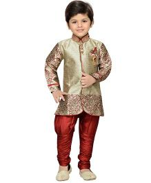 AJ Deznies Self Design Sherwani and Breeches Set - Maroon And Golden